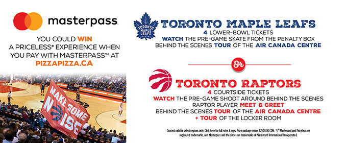 Masterpass Priceless contest! Leafs or Raptors VIP packages image contest banner