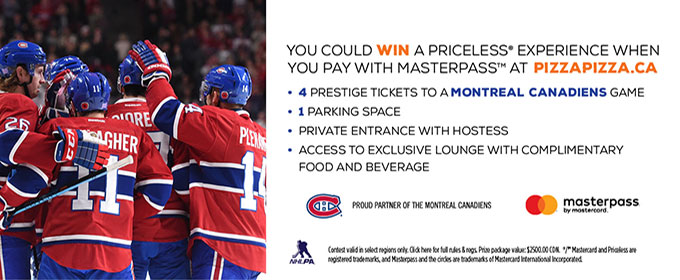 Masterpass Priceless contest! Montreal Canadiens VIP packages image contest banner