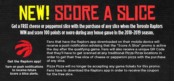 "Toronto Raptors ""Score A Slice"" image contest banner"